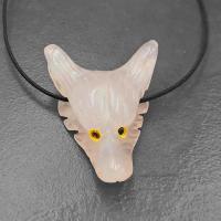 Rose Quartz Wolf Head Pendant