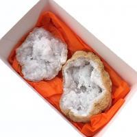 White Quartz Geodes from Morocco