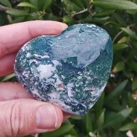 Large Green Moss Agate Crystal Puff Heart No1