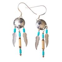 Native American Indian Shield with Feathers Earrings