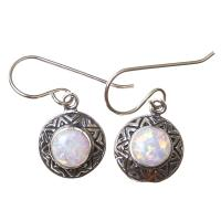 White Opal Earrings in Sterling Silver