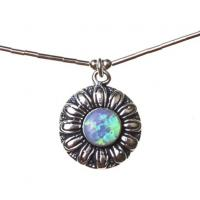 Lotus Blue Opal Necklace in Sterling Silver