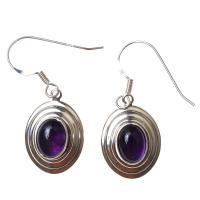 Amethyst Oval Earrings in Sterling Silver D2