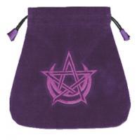 Pentagram & Moon Purple Velour Tarot Bag