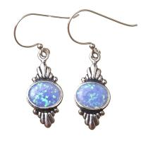 Blue Opal Earrings in Sterling Silver