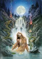 Moon Falls Greeting Card