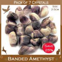 Pack of 7 Banded Amethyst Tumble Stones