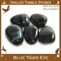 Side Drilled Blue Tiger Eye Tumbled Stones