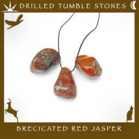 Side Drilled Brecicated Red Jasper Tumbled Stones