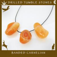 Side Drilled Banded Carnelian Tumbled Stones