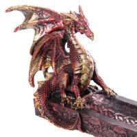 Red Dragon Boat Incense Holder