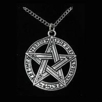 Pewter Celtic Rune Sorcery Pentagram Pendant