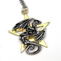 Pewter Dracogram Pentagram Pendant