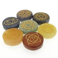 Round Etched Chakra Crystals Stone Set