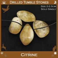Side Drilled Citrine Tumbled Stones