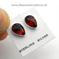 Amber Tear Drop Stud Earrings 9mm