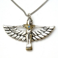 Winged Isis Pendant finshed in Silver & Gold