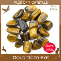 Pack of 7 Gold Tiger Eye Tumble Stones