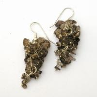 Smoky Quartz Grape Earrings