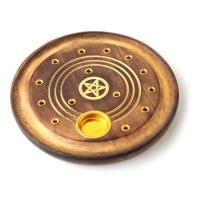 Mango Wood Round Pentagram Ashcatcher Incense Burner