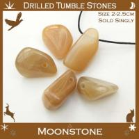 Side Drilled Moonstone Tumbled Stones