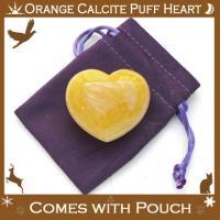 Orange Calcite Puff Heart