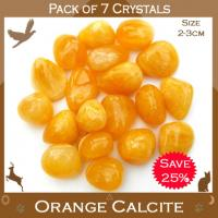 Pack of 7 Orange Calcite Tumble Stones