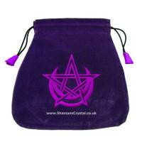 Pentagram & Moon Purple Velour Tarot Bag
