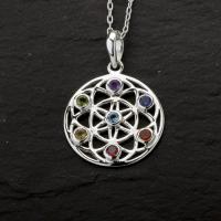 Gemstone Chakra Flower of Life Pendant