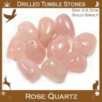 Side Drilled Rose Quartz Tumbled Stones