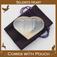 Selenite Puff Heart with Pouch