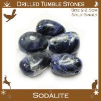 Side Drilled Sodalite Tumbled Stones