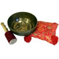 Brass Golden Buddha Singing Bowl Set