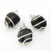 Obsidian Tumble Stone Coil Pendant