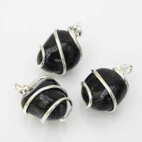 Black Onyx Tumble Stone Coil Pendant