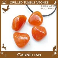 Side Drilled Carnelian Tumbled Stones